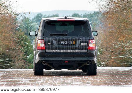 Grodno, Belarus, December 2012: Land Rover Range Rover Sport V8 Supercharged. Back View Of Black Suv