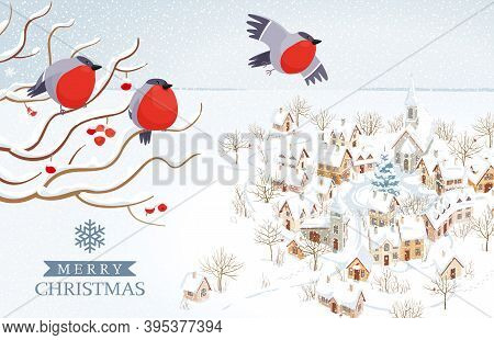 Funny Bullfinches Flying Over Small Winter Town And Rural Landscape. Vector Image For Christmas Card