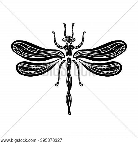 Dragonfly Linocut Illustration, Draw, Ink, Vector. A Black Dragonfly With A White Ornament Inside. W