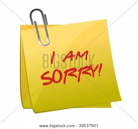 I Am Sorry Message On A Post