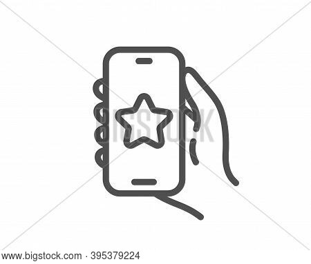 Favorite App Line Icon. Hand Hold Phone Sign. Cellphone With Screen Notification Symbol. Quality Des