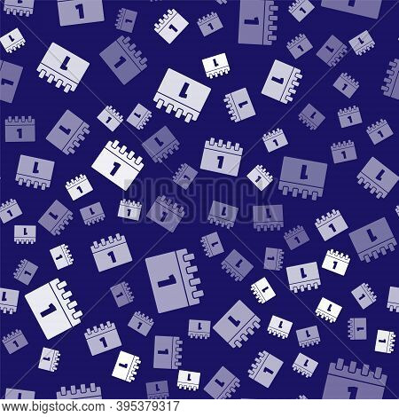 White Calendar With First September Date Icon Isolated Seamless Pattern On Blue Background. Septembe