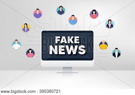 Fake News Symbol. Remote Team Work Conference. Media Newspaper Sign. Daily Information. Online Remot