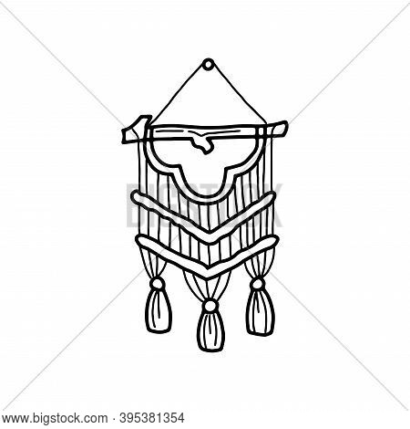 Macrame Wall Hanging In Doodle Style Hand Drawing. Vector Icon In The Concept Of A Cozy Scandinavian