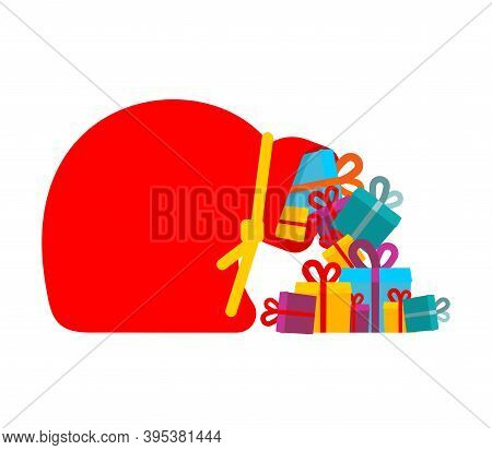 Large Sack Of Santa With Gifts. Boxes Fall Out Of Full Red Sack