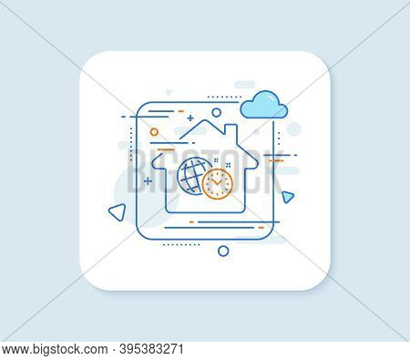 Time Management Line Icon. Abstract Vector Button. World Clock Sign. Watch Symbol. Time Management L