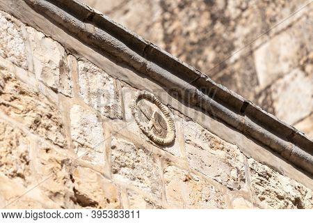 Antique Stone Seal Of A Bricklayer Who Built A Wall On A Wall On The Via Dolorosa Street In The Old