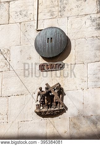 Jerusalem, Israel, October 24, 2020 : The Second Stations Of The Way Of The Cross On Via Dolorosa St