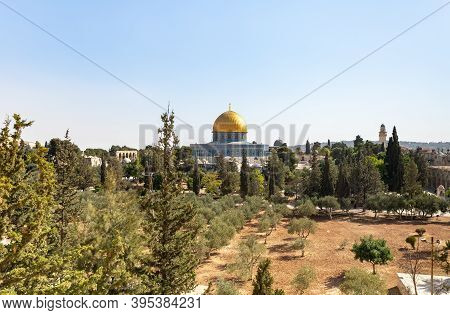 View From The Arab School In Via Dolorosa To The Temple Mount And The Dome Of The Rock In The Old Ci