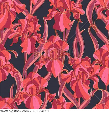 Seamless Pattern Of Flowers And Leaves Of Irises In Vintage Style Art Nouveau And Art Deco With Gold