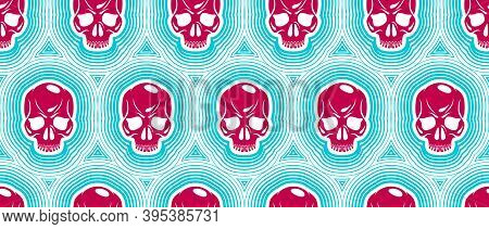 Seamless Skulls Background, Vector Pattern With Crazy Sculls, Horror And Death Theme, Hard Rock And