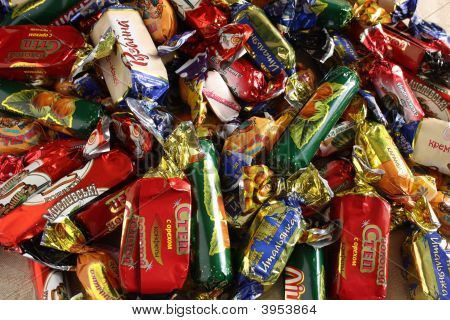 Confection Of Sweetmeat. Chocolates Candy And Caramel