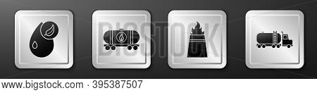 Set Bio Fuel, Oil Railway Cistern, Oil Rig With Fire And Tanker Truck Icon. Silver Square Button. Ve