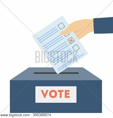 Hand Putting Voting Bulletin In Box. Vote, Choice, President Flat Vector Illustration. Democracy And