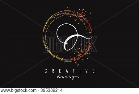 Golden Sparkling Circles And Glitter Frame For Handwriting O Letter Logo. Shiny Rounded Vector Illus