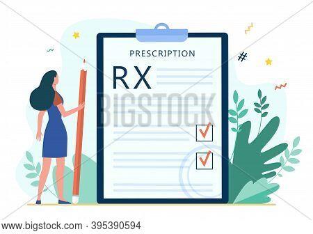 Tiny Woman Reading Doctor Prescription. Rx, Pencil, Checkmark Flat Vector Illustration. Medicine And