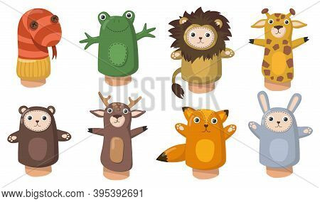 Funny Animal Hand Puppets Flat Set For Web Design. Cartoon Toys From Socks For Kids Isolated Vector