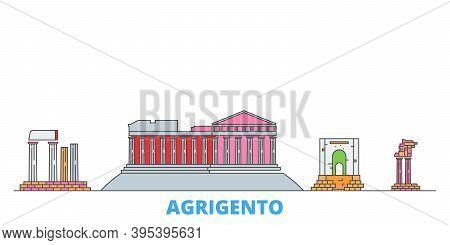 Italy, Agrigento Line Cityscape, Flat Vector. Travel City Landmark, Oultine Illustration, Line World