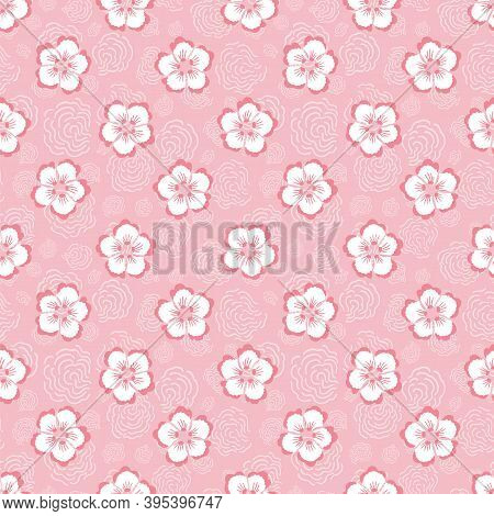 Vector Japanese Pink Cherry Blossom Seamless Pattern With Hand Drawn Florals On Pink Background, Wav