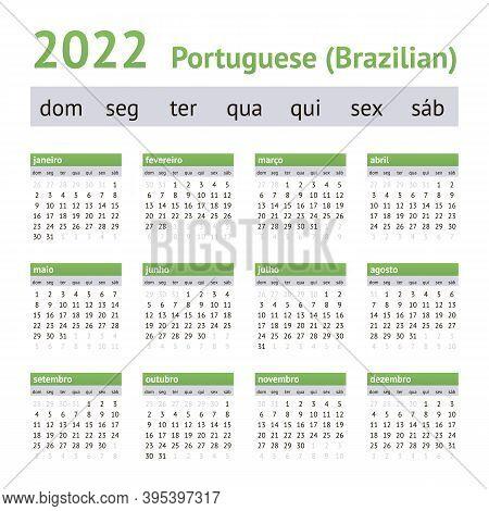 2022 Portuguese American Calendar. Weeks Start On Sunday