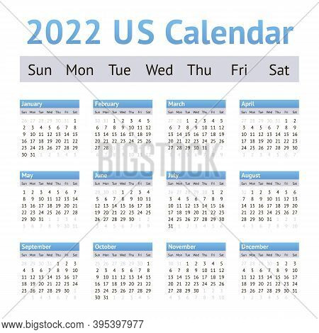 2022 Us American English Calendar. Weeks Start On Sunday