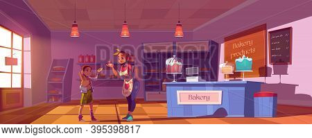 Confectionery Shop Cartoon Vector Illustration. Girl Buying Products In Bakery, Woman Owner Of Bake