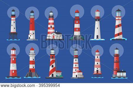 Lighthouse Beacon Searchlight, Ship Navigation Vector Illustration