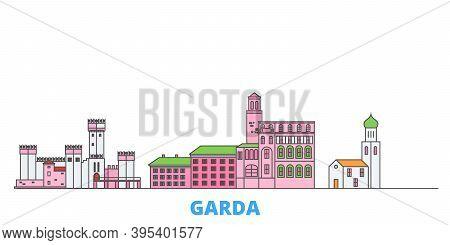 Italy, Garda Line Cityscape, Flat Vector. Travel City Landmark, Oultine Illustration, Line World Ico