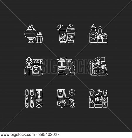 Delivery And Takeout Chalk White Icons Set On Black Background. Drinks And Beverages. Condiments And