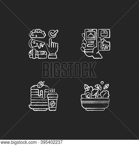 Delivering Groceries, Pre-prep, Pre-made Meals Chalk White Icons Set On Black Background. Choosing C
