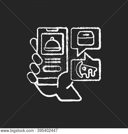 Food Delivery App Chalk White Icon On Black Background. Menu Online. Easy Payment. Ordering Takeout