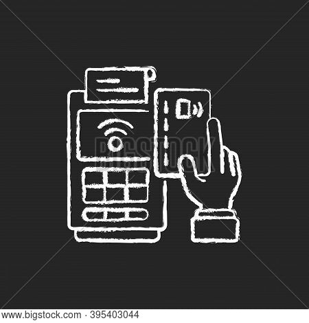 Cashless Payment Chalk White Icon On Black Background. Paying Online. Collecting Cash From Customers