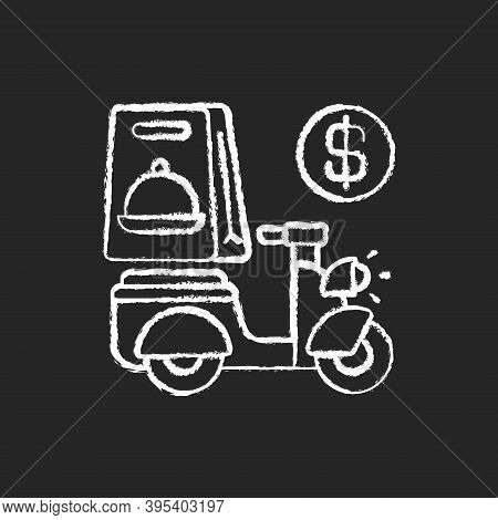 Delivery Fee Chalk White Icon On Black Background. Courier Service. Online Ordering. Collecting Mone