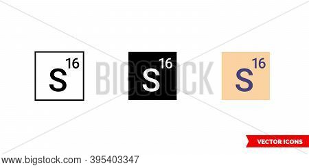 Sulfur Icon Of 3 Types Color, Black And White, Outline. Isolated Vector Sign Symbol.