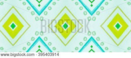 Seamless Tribal Background. Green Navajo Ethnic Wallpaper. Hand Drawn Native Border. Geometric Bohem