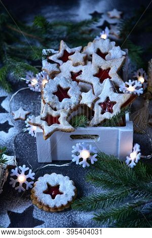 New Year Still Life. Linzer Biscuits And Christmas Paraphernalia.