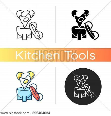 Coddler Icon. Soft Boiled Eggs. Boiling Recipe Ingredient. Kitchen Tool. Household Appliance For Coo