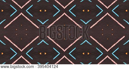 Seamless Diamond Pattern. Drawn By Hand Stripes Textile. Red Watercolor African Border. Rhombus Patt