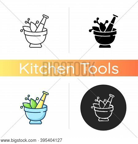 Mortar And Pestle Icon. Kitchen Tool To Mesh Herbs. Cooking Utensil To Mix Condiments. Food Cooking.