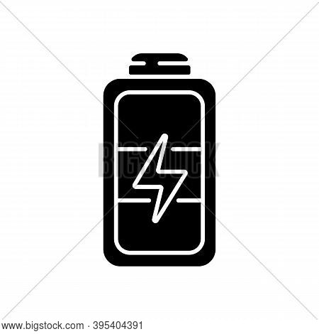 Full Battery Black Glyph Icon. Getting Max Capacity For Full Day. Maximum Power For Device. One Hund