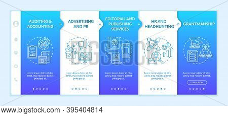 Top Business Counseling Services Onboarding Vector Template. Advertising And Pr. Publishing Services