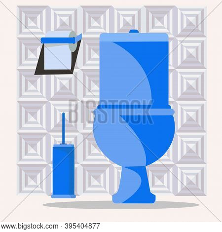 Vector Set With Toilet Bowl, Toilet Brush And Papper. Restroom Bathroom Interior.