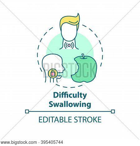Difficulty Swallowing Concept Icon. Sore Throat Symptom Idea Thin Line Illustration. Dysphagia. Food
