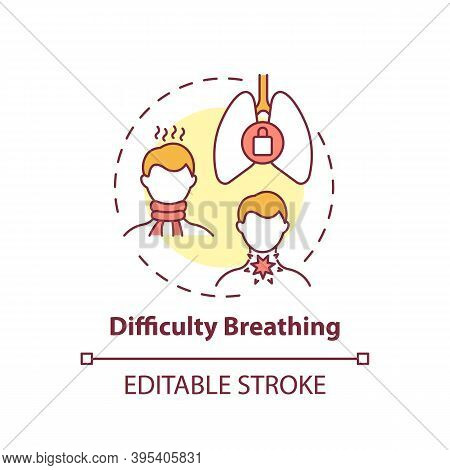 Difficulty Breathing Concept Icon. Sore Throat Complication Idea Thin Line Illustration. Lung Proble