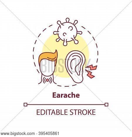 Earache Concept Icon. Sore Throat Complication Idea Thin Line Illustration. Tonsillitis And Pharyngi