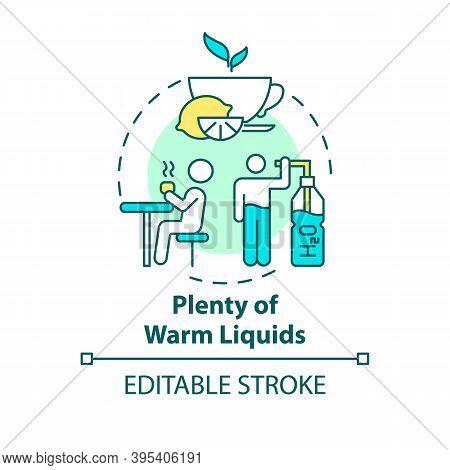 Warm Liquids Concept Icon. Effective Remedy For Killing Bacteria Idea Thin Line Illustration. Drinki