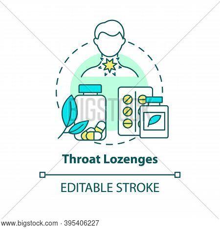 Throat Lozenges Concept Icon. Sore Throat Treatment Idea Thin Line Illustration. Cough Suppressant.