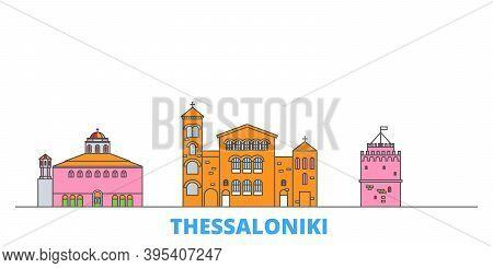 Greece, Thessaloniki Line Cityscape, Flat Vector. Travel City Landmark, Oultine Illustration, Line W