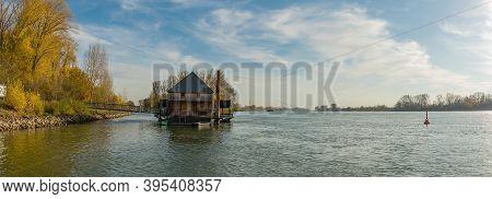 Historic Rhine River Ship Mill Ginsheim, Hesse, Germany