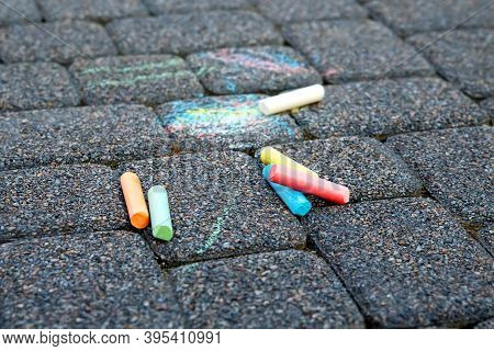 Colored Crayons On The Pavement, Childrens Creativity, Drawing On The Street, Multi-colored Writing